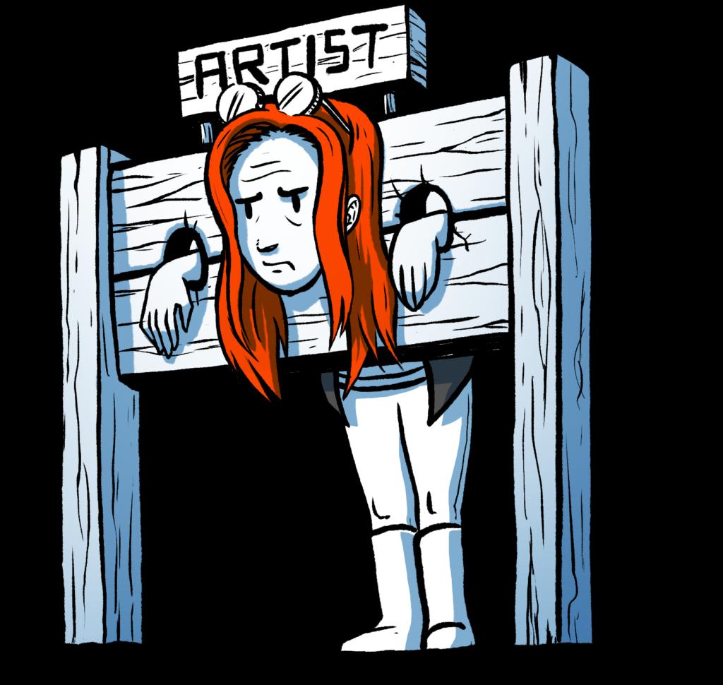 The tortured artist mindset illustrated.